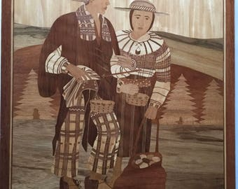 Large MARQUETRY Inlaid Wood Plaque Picture BOLIVIA Peasant Couple w/Scale Sgd OP Vintage