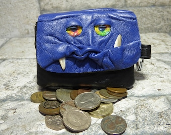 Blue Leather Zippered Coin Purse Change Purse Monster Face Pouch Key Ring Harry Potter Labyrinth 18