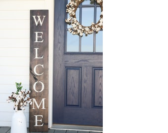 Incroyable WELCOME SIGN, Brown, Rustic Wood Welcome Sign, Front Door Welcome Sign,  Vertical Welcome Sign, Welcome Sign Porch