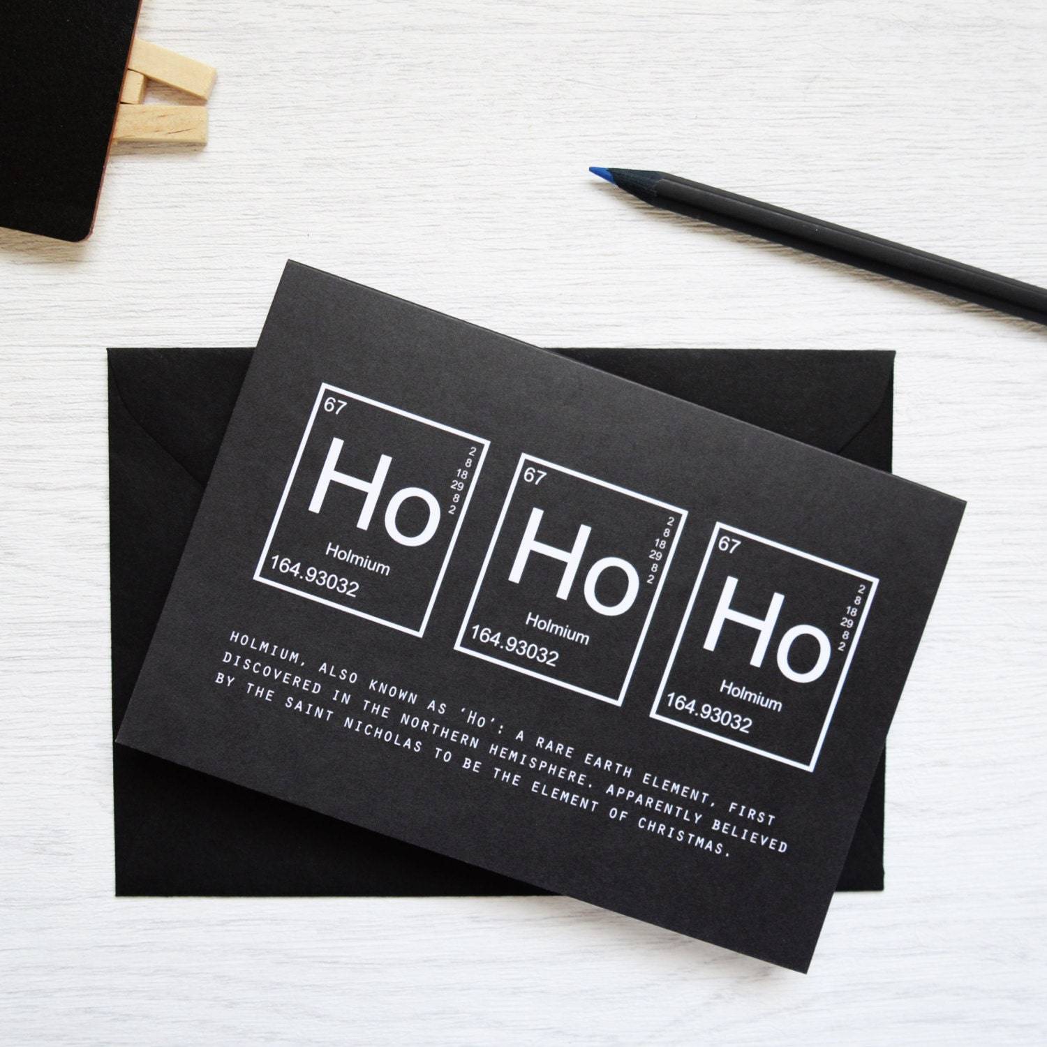 CHRISTMAS HOHOHO ELEMENTS Card Packs Periodic Table Monochrome