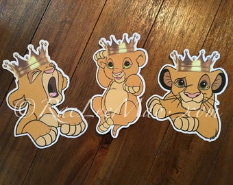 Crowned Simba Lion king cutouts/diecuts/lion king baby shower decorations/DIY decorations/centerpieces/baby prince Simba wearing a crown,