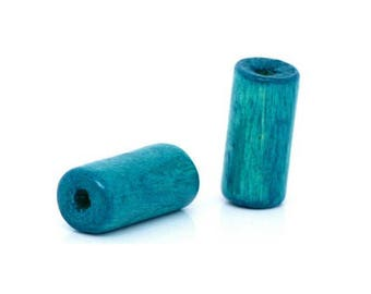 set of 50 beads tubes turquoise blue 12 mm x 6 mm wooden
