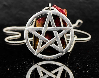 XL size Pentagram pendant, sterling silver, large Pentagram necklace, big pentacle necklace, wiccan jewelry, big silver Pentacle pendant