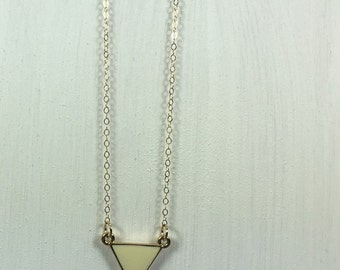 White Triangle Enamel Necklace on 14k Gold Filled Chain