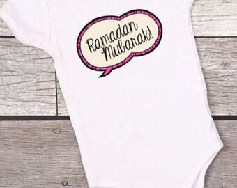 Ramadan Mubarak onesie, ramadan onesie, eid baby , ramadan baby shirt, muslim baby, eid gift, ramadan gift ,gerber product