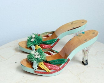 Firenze Wood and Acrylic Heeled Stilettos, sz 7 US/CAN, Kitsch Couture Sandals