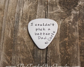 Fathers Day Dads Personalized guitar pick hand stamped stainless pick Guitar pick for dad greatest dad Gift Father's Day
