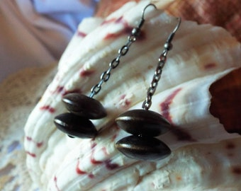 Dark Wood Earrings Double Wooden Disks Gunmetal Gray Chain