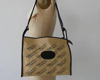 vintage Coke shoulder bag / 70s coca cola messenger bag / tan brown canvas overnight bag / 1970s purse / large cross body bag