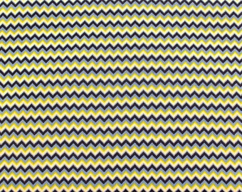 Chevron Fat Quarter Blue Yellow White Quilt Fabric Small Print
