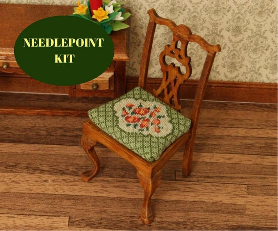 Cross Stitch Dollhouse Chair Kit Petit Point Dining Room For 12th Scale 112 32 Gauze From
