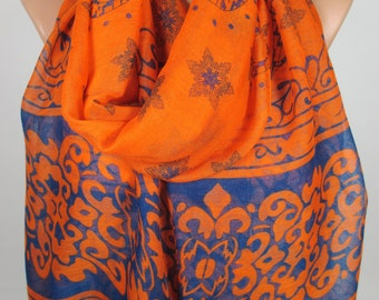 Floral Scarf Flower Scarf Orange Cobalt Blue Scarf Large Scarf Fall Spring Scarf Women Accessories Gift For HerGift For Mom Mothers Day Gift