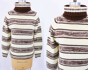 "ANNIVERSARY SALE // 1960s turtleneck sweater   cream brown striped acrylic sweater   vintage 60s sweater   W 35"""