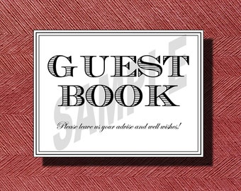 Wedding Guest Book Sign or Poster