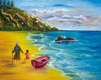 A walk at the beach - 16x20 oil painting