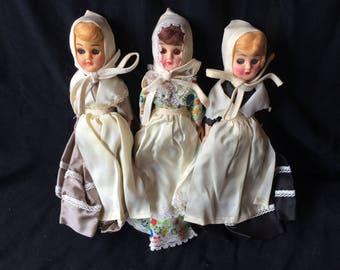 Three Vintage Carlson Celluloid Dolls in Pilgrim Costumes - 1950
