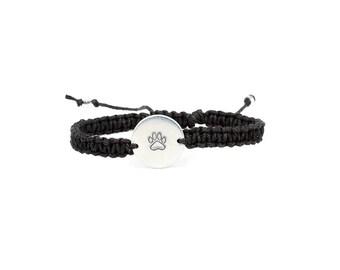 Paw Print Bracelet, Pet Memorial Bracelet, Hemp bracelet, Charm Bracelet, Pet Jewelry, Pet Memorial Jewelry, Pet Lover Gift, Pet Loss