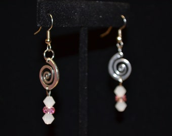 Pink AB and White Swirl Beaded Dangle Earrings