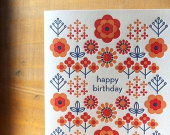 Happy Birthday Folk Flower Card