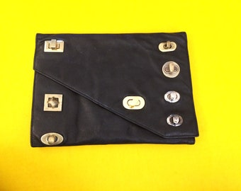 Lets Button This Up Leather Chic Black Clutch