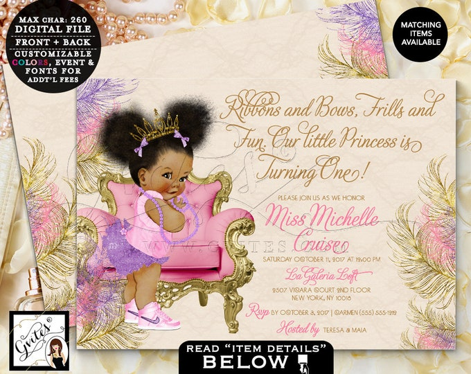 "Purple Pink and Gold First Birthday Invitation, Princess Tiara Pearls African American Baby DIGITAL,7x5"" Double Sided. Afro Puffs. Gvites"