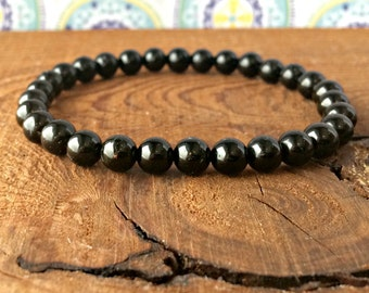 AAA 6mm Black Tourmaline Stacking Bracelet, Healing Crystals, Root Chakra, Yoga Meditation Jewelry, Protection-Emotional Stability-Grounding