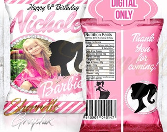 Barbie Theme Birthday Personalized Favor Bag -Candy Bag-Chip Bag- Party Bag-Popcorn Bag-Custom Chip Bag