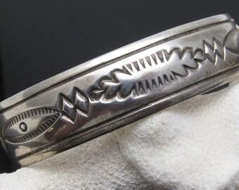Sterling Cuff Bracelet Native American Signed Jewelry