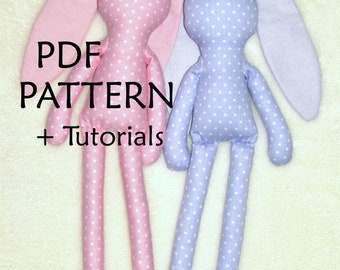 PDF Bunny Sewing Pattern. Bunny Doll Pattern. PDF Digital Sewing Pattern. Soft Bunny Pattern. Cloth Bunny toy Pattern. Rag Doll Bunny PDF.