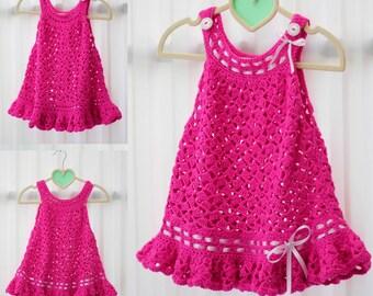 Crochet pattern, Patron de crochet - DORALY Crochet Dress - crochet Sundress pattern PDF- crochet Top- crochet Jumper - Sizes 6m to 10 years