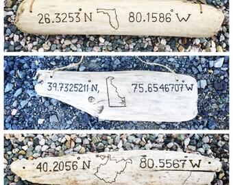 Any State Location Driftwood Sign | Wood beach home coastal island outline new housewarming gift Michigan Florida California Cape Cod Texas