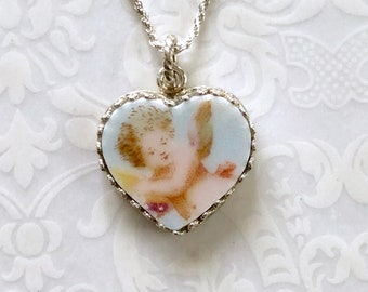 Victorian Angel Necklace Jewelry/Broken China Jewelry/Heart Pendant Necklace/Cupid/Baby Angel/Love