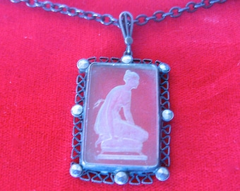 Antique Gunmetal Necklace With Acid-Etched Pendant