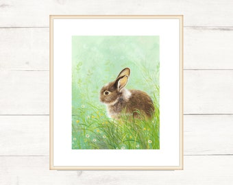 Bunny among the flowers. Gift idea. Customizable sizes. Print measures 21x29 cm
