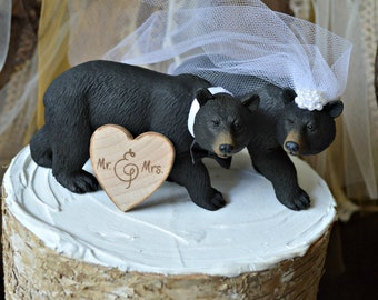 Black Bear Wedding Cake Topper-Bear Cake Topper-Hunting Cake Topper