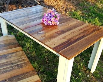 Farmhouse Kitchen Table + Farmhouse Benches, Country Cottage Dining Table, Farmhouse kitchen table, Country kitchen table