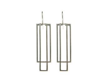 Plated Silver Earrings, Geometric Earrings, Women's Geometric Jewelry, Long Silver Earring, Rectangle Earrings, Statement Earrings, 925 Drop