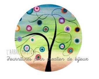 2 cabochons craft tree 3 glass 14 mm N444