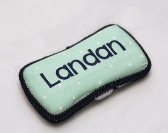 Personalized Wipes Case - Mint and Navy