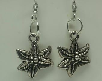 Tibetan Silver Flower Charm Earrings with 925 Sterling Silver Wire Hooks