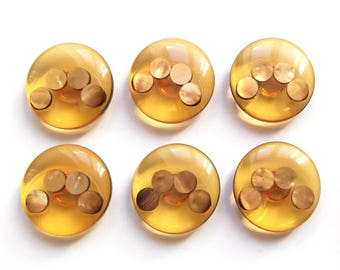 6 large vintage amber and Golden mother of Pearl buttons 28 mm