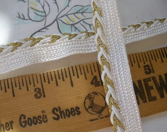 "Gold Metallic & Ivory Braided Piping Lip Cord Trim 1/2"" Edging Mixed Media Lamp Shades Crazy Quilts Pillows Lip Cord choose yards yardage"