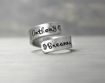 Mother Ring, Custom Hand Stamped, Pewter Wrap Ring, Mothers Day Gift, Kids Names, Mommy Ring Hand Stamped Jewelry, Stamped Ring Name Ring