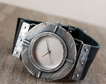 handcrafted silver watch, rough raw oxidized silver watch, leather bracelet watch