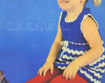 Vintage 70s Crochet Pattern Toddler Girls Chevron Stripe Sun Dress Drawstring Waist PDF Instant Digital Download 2-4 Years 5 Ply