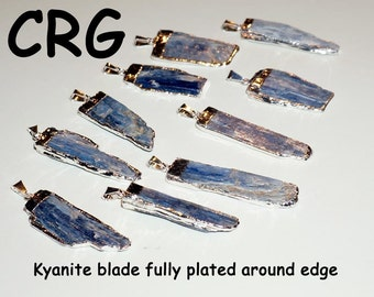 Kyanite Blade Pendant Fully Silver Plated Around Edge (PT26BT)