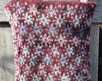 Red hand knitted Fair Isle crossbody bag