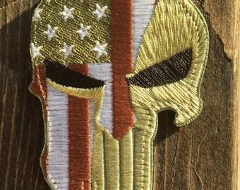 MULTICAM Punisher USA flag Morale patch top quality American spartan helmet stars uniform hook and loop uniform vest