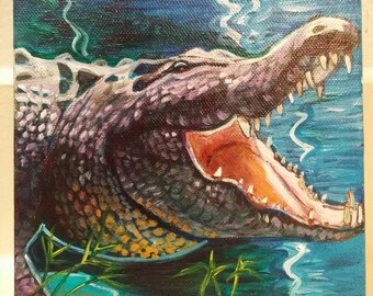 Big Mouth (American alligator, swamp, swamp life, bayou life, southern wild, fierce creatures, Louisiana painting)