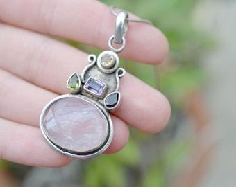 Sterling Silver Rose Quartz Multigem Necklace, Multigem Statement Necklace, Rose Quartz Jewelry, Sterling Rose Quartz Pendant